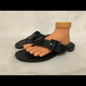PRADA PATENT LEATHER FLIP-FLOP FLAT THONG SANDALS